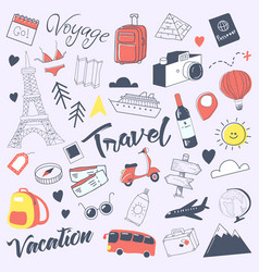 travel hand drawn doodle with luggage globe vector image