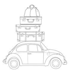 Auto travel retro car with luggage on the roof vector