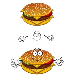Delicious tasty sesame cheeseburger character vector