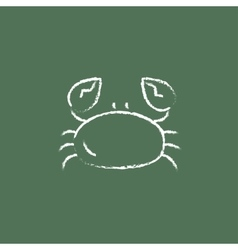 Crab icon drawn in chalk vector