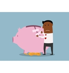 Businessman repairs damaged piggy bank vector