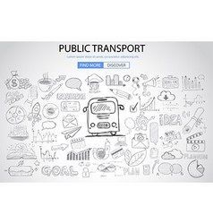 Public transports concept wih doodle design style vector