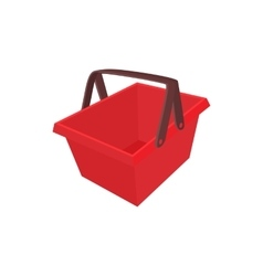 Red shopping basket icon cartoon style vector