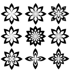 Flower set stylized geometric spring flower vector