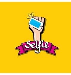 Taking selfie photo on smart phone image vector