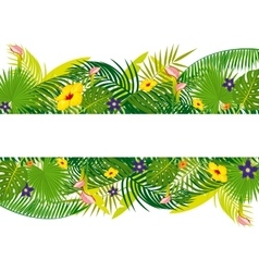 Empty banner with tropical floral foliage vector