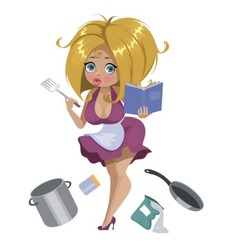 Housewife with a recipe book vector image