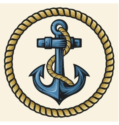 Anchor and rope design vector