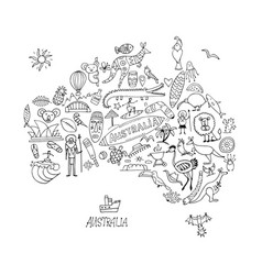Australian map with icons set sketch for your vector