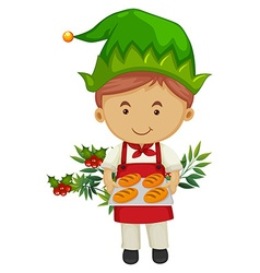 Baker holding tray of bread for christmas vector