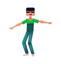 Boy wearing virtual reality headset simulator vector