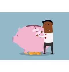 Businessman repairs damaged piggy bank vector