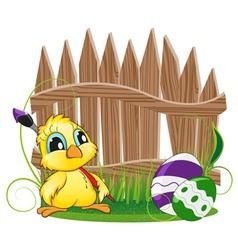 Cartoon chicken with paintbrush vector
