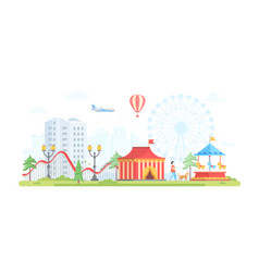 cityscape with attractions - modern flat design vector image