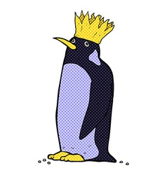 Comic cartoon emperor penguin vector