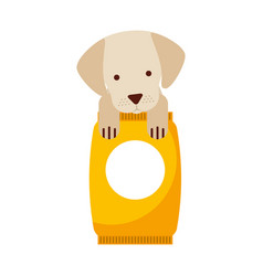 Cute dog mascot with bag food vector