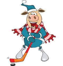 Cute pig ice hockey player vector