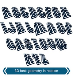 Dimensional shift letters with rotation effect vector