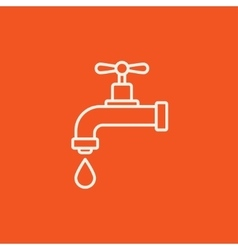 Dripping tap with drop line icon vector image vector image