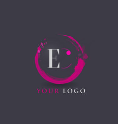 Ec letter logo circular purple splash brush vector