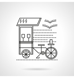 Flat black line coffee shop icon vector
