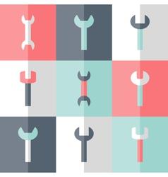 Flat nine wrench icon set vector image