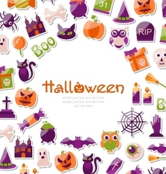 Halloween Card Set of Bright Signs Icons and vector image vector image
