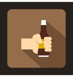 Hand holding beer bottle icon flat style vector image