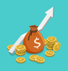 Income growth flat isometric concept vector