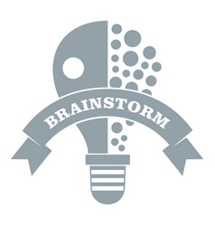 Lamp brain storm logo simple gray style vector