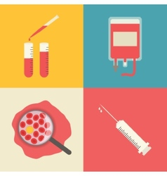 Medical icons set blood transfusion test tubes vector