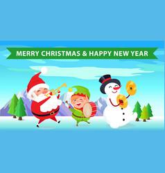 merry christmas santa nature vector image vector image