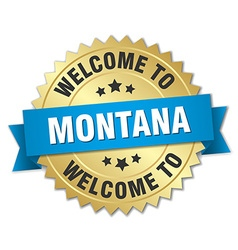 Montana 3d gold badge with blue ribbon vector