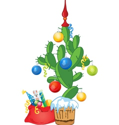 New Year cactus as fir tree vector image vector image