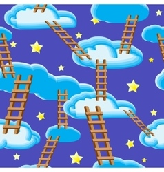 Night sky clouds ladders and stars vector image