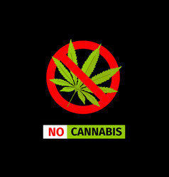 no cannabis sign vector image vector image