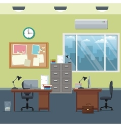Office workspace desks cabinet board notice clock vector