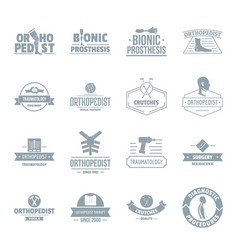 Orthopedics logo icons set simple style vector