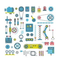 parts of mechanism and robots flat icons vector image