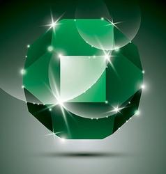 Party dimensional green sparkling disco ball vector image