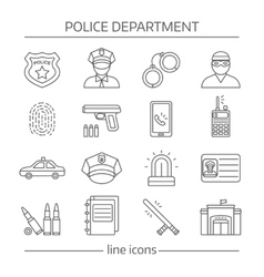 Police department linear icons set vector