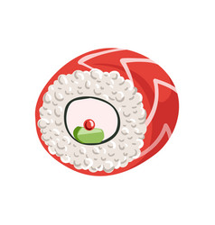 Roll with cream cheese and cucumber inside vector