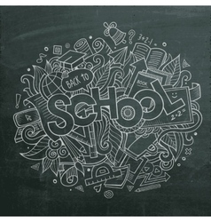 School hand lettering and doodles elements vector image