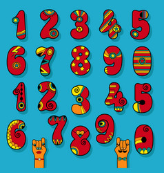 Set of vintage numerals red signs with bright vector