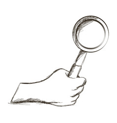 Sketch hand holding magnifier vintage icon vector