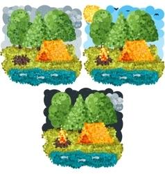 Summer round pixels art vector image
