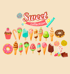 sweet food icon collection vector image