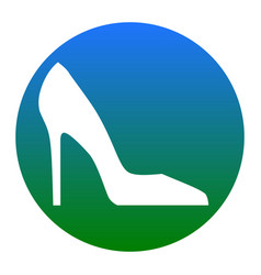 woman shoe sign white icon in bluish vector image vector image