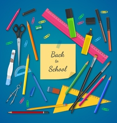 School supplies on colored background vector