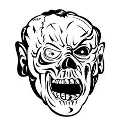 Zombie skull face monster vector